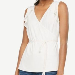 Ann Taylor Ruffle Belted Wrap Top In Winter White